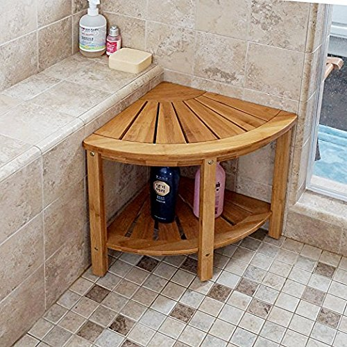 Welland Corner Shower Bench With Storage Shelf Bamboo Shower Seat Stool X